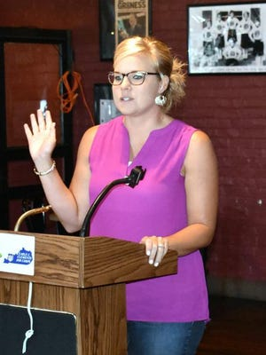 Union County's new Community Development Director Melissa Coker speaking at a recent Lion Clubs meeting.