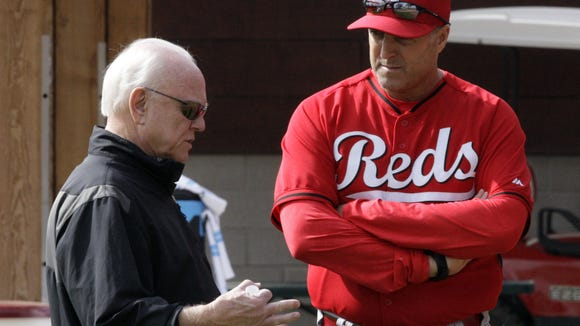 Reds GM Walt Jocketty (left) and manager Bryan Price.