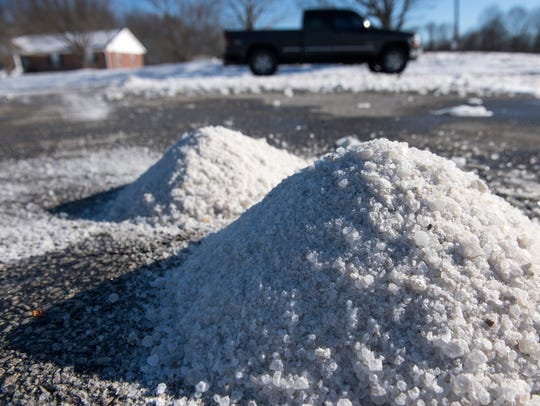 Piles of salt laid by Tennessee Department of Transportation