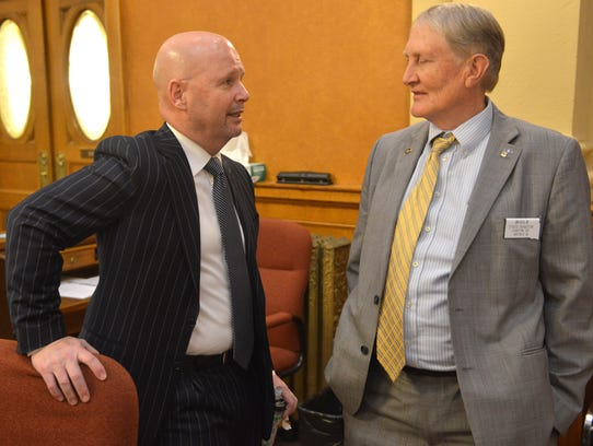 Republican Sen. Blake Curd (left) opted not to call a meeting of the panel tasked in January with reconsidering the Legislature's rules governing sexual harassment.