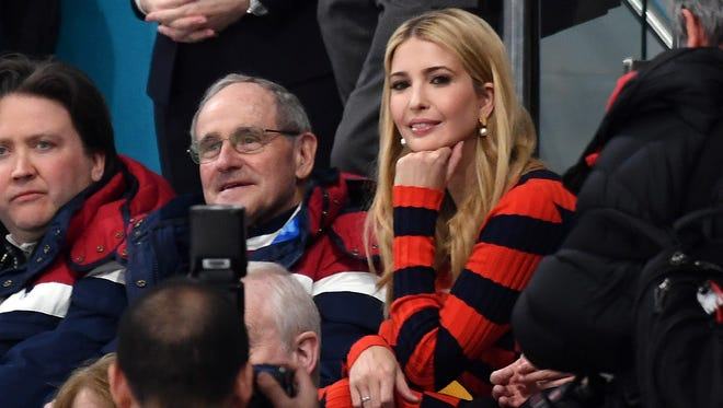 Ivanka Trump watches the gold medal match.