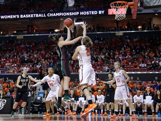 Green Bay center Lexi Weitzer, center, shoots over Princeton forward Alex Wheatley (21) in the first half of an NCAA college basketball game in the first round of the NCAA tournament, Saturday, March 21, 2015, in College Park, Md. Princeton won 80-70. (AP Photo/Patrick Semansky)