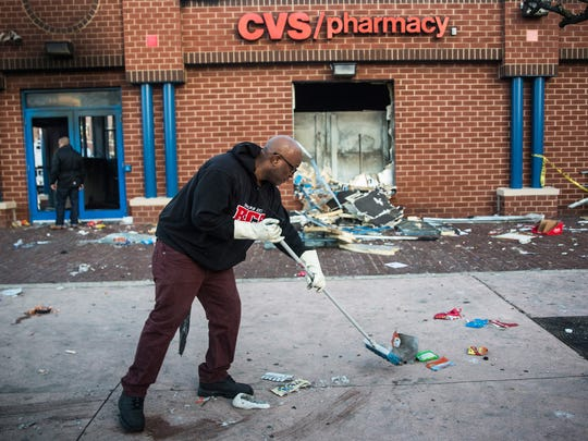 A CVS was severely damaged during the riots.