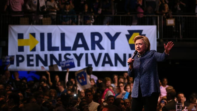 Hillary Clinton speaks during a campaign rally at The Fillmore on April 20, 2016, in Philadelphia.