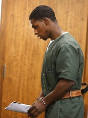 Dante Allen leaves the courtroom after a brief appearance before Judge Anthony J. Mellaci Jr., in State Superior Court in Freehold Monday, April 11, 2016.  He is facing charges of attempting to murder an Asbury Park cop where an 8-year-old girl was wounded in the exchange of gunfire.