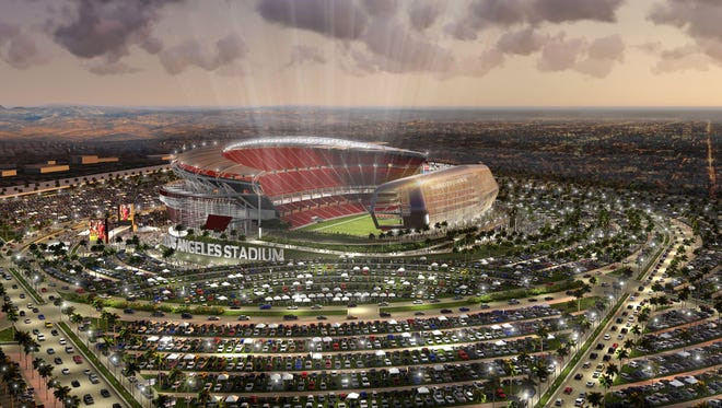An artist's rendering shows a proposed stadium in Carson, Calif., about 15 miles south of Los Angeles, that could house the Raiders and Chargers if they don't stay in their respective cities.