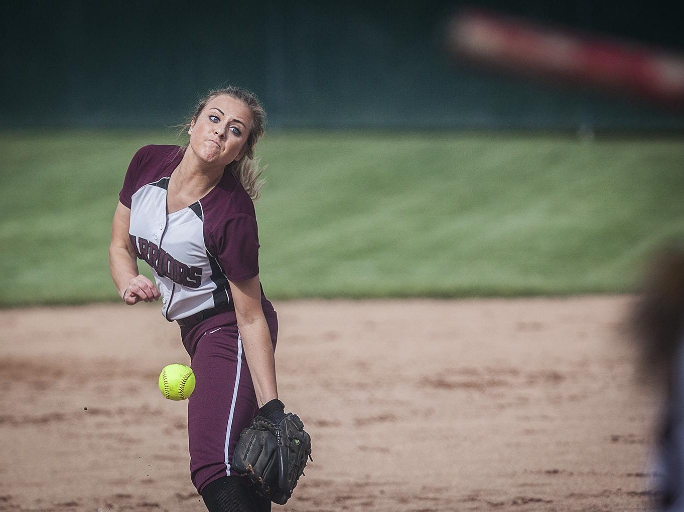 Wes-Del's Maddie Richards pitches against Tri during their regional game at Wes-Del High School Tuesday.