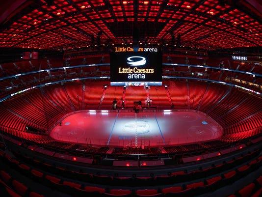 Little Caesars Arena ice, Little Caesars Arena overview, Little Caesars Arena scoreboard