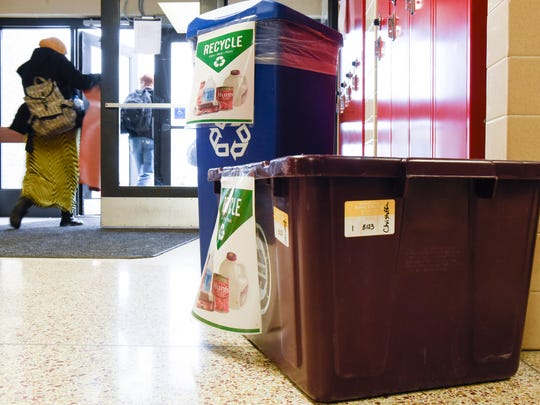 Money raised by the Rocori Environmentalist Club members has been used to purchase hydration stations and recycling containers for around the school shown Friday, April 13, in Cold Spring.