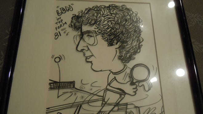 A caricature of Len Lustik in his table-tennis heyday.