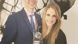 Jonathan Herman and Alene Herman at the Portfolios with Purpose awards. Jonathan and his team raised more than $34,000 for the Melanoma Foundation.