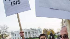 Muslims rally against ISIS in front of the White House in Washington, D.C.