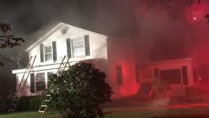 A scene from Friday night's fire in Batavia that killed twin boys.