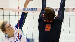 Texas A&M-Corpus Christi senior Morgan Carlson was one of three hitters with double digit kills Saturday against UIW.