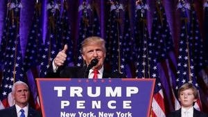 U.S. stocks soared in the wake of President-elect Donald Trump's acceptance speech early Wednesday morning.
