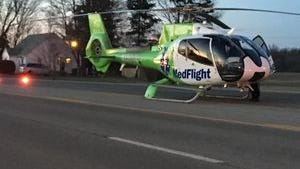 A medical helicopter landed on Ohio 39 on Sunday evening after a two-vehicle crash.