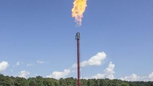 A controlled flaring event, like the one seen here, could be seen by Anderson residents over the next couple of weeks as Piedmont Natural Gas performs routine inspections of pipeline.