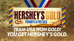 Starting Feb. 9, whenever Team USA wins a gold medal in PyeongChang, the Hershey's brand will give away coupons for a Hershey's Gold bar (up to $1.50 each) to at least the first 10,000 participants responding to a Hershey's post on Twitter/Facebook, first come, first serve, while supplies last.