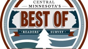 The logo for the 2018 Best Of Central Minnesota readers' survey, sponsored by Times Media and Premier Real Estate.