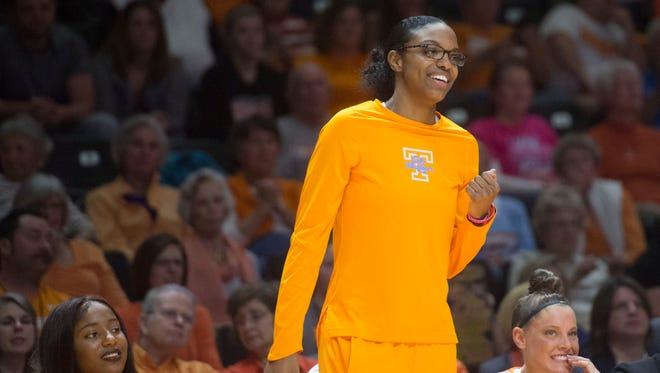 Tennessee's Diamond DeShields supports her teammates from the bench during the second half of the game against Arkansas  on Sunday, Feb. 19, 2017, at Thompson-Boling Arena. Tennessee beat Arkansas, 59-46.