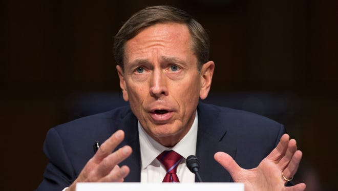 In this Sept. 22, 2015, file photo, former CIA director David Petraeus testifies on Capitol Hill.