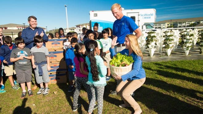 Students from Millennia Gardens Elementary's Eco Club donate lettuce to SeaWorld's Manatee Rescue and Rehabilitation Program on Friday, Feb. 17, 2017.