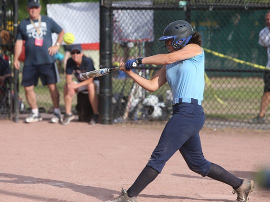Pine Plains' Lourdes Belanger takes a swing during the state Class C final against Chautauqua Lake in Glens Falls on June 9, 2018.