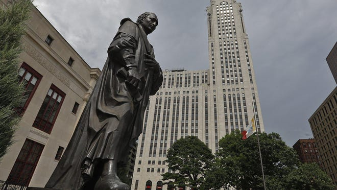 Columbus Mayor Andrew Ginther has announced the Columbus statue in front of city hall shall be removed. June 18, 2020.