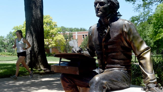 The Thomas Jefferson statue on the University of Missouri quad.