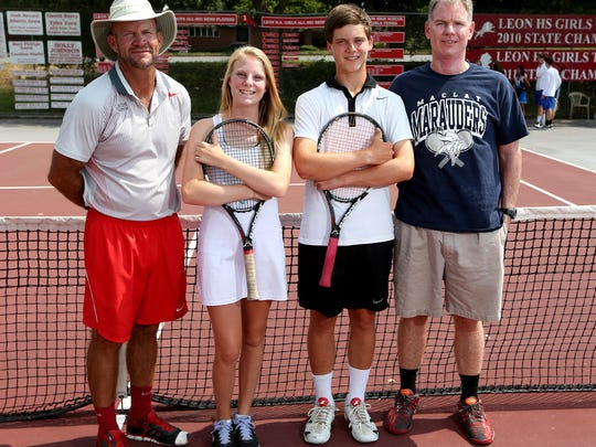 Kevin Record stands next to Anna McDonald following the 2014 tennis season, being named All-Big Bend Boys Coach of the Year and Girls Player of the Year, respectively.