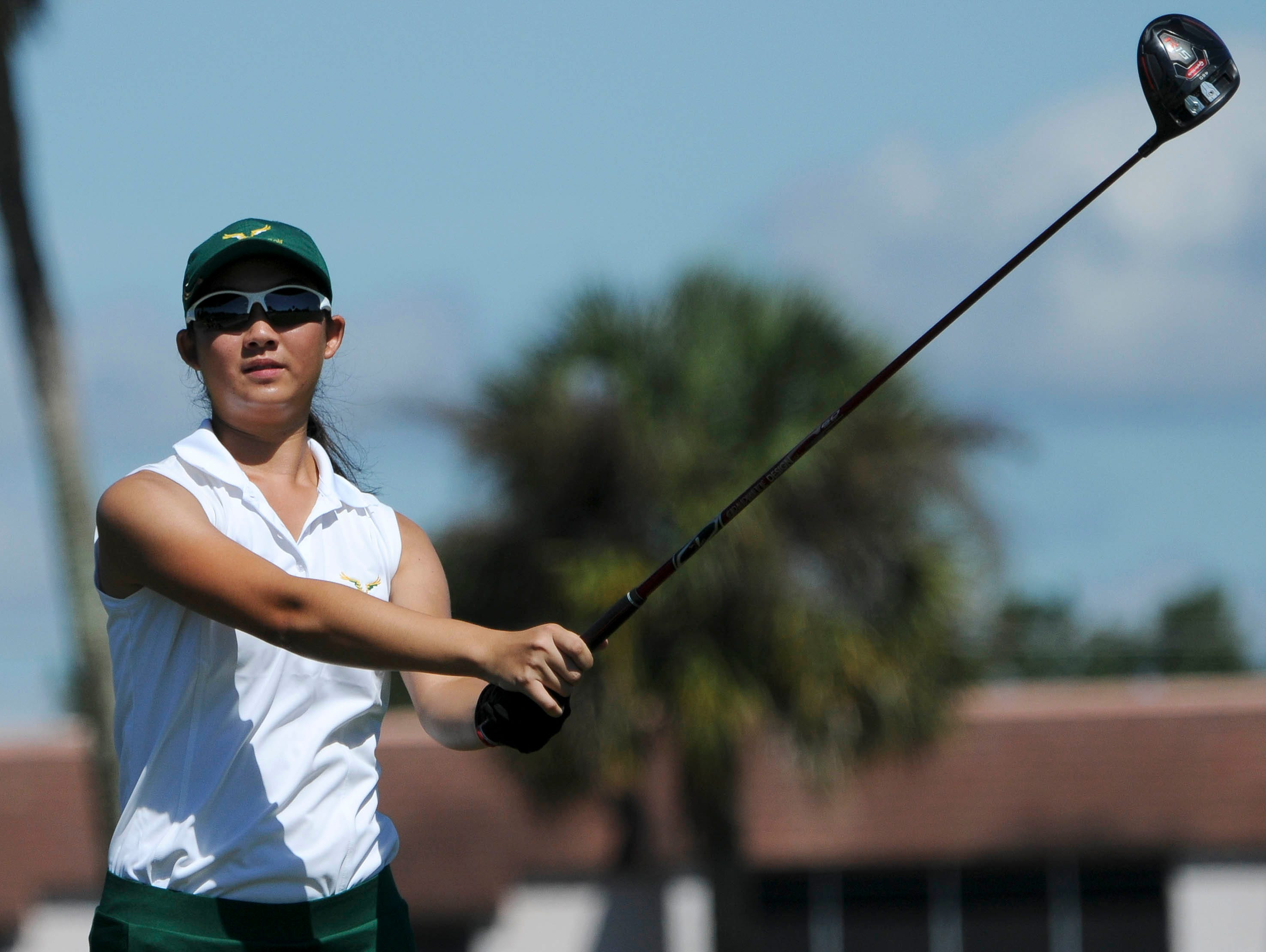 Sophie Liu of Viera watches her tee shot during the Cape Coast Conference girls golf tournament Tuesday. Liu shot a 71 in the tournament.