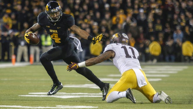 Iowa wide receiver Tevaun Smith is one of the 21 Hawkeye seniors who will be playing in their final home game against Purdue.