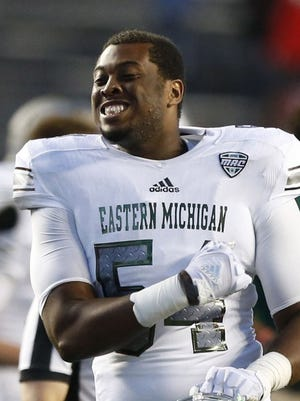 Sep 9, 2017; Piscataway, NJ, USA; Eastern Michigan Eagles offensive lineman Ka'John Armstrong (54) reacts after defeating Rutgers Scarlet Knights at High Point Solutions Stadium.