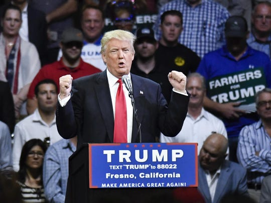 Donald Trump promised thousands of supporters gathered at Fresno's Selland Arena water and a wall separating Mexico and the United States on Friday, May 27 in this file photo.