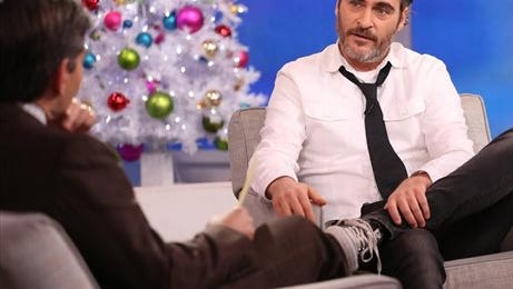 """In this image released by ABC, actor Joaquin Phoenix appears on """"Good Morning America,"""" Tuesday in New York. Phoenix, who announced his """"engagement"""" on the CBS late-night talk show """"Late Show with David Letterman,"""" only to say on Tuesday that it was only a joke. Before he came clean on """"Good Morning America,"""" news of Phoenix's supposed impending wedding to his yoga instructor spread widely on several legitimate news sources. """"I can get engaged again if you like,"""" Phoenix told ABC's George Stephanopoulos after telling him he wasn't really ready to get hitched."""