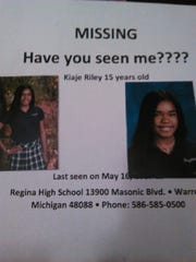 Poster for missing Kiaje Riley