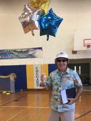 Gene Melleno on his final day of teaching after 35 years at Cranford High School, in 2016.