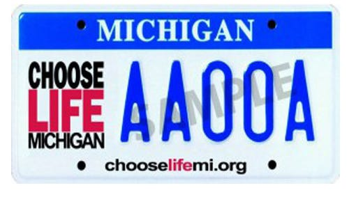 Sample design of 'Choose Life' license plate.