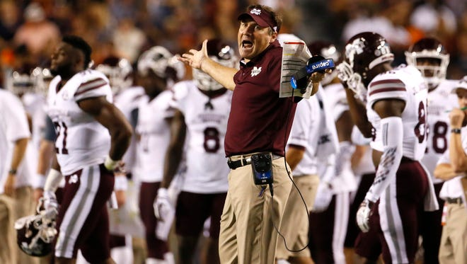 Sep 30, 2017; Auburn, AL, USA; Mississippi State Bulldogs head coach Dan Mullen reacts to a call during the fourth quarter against the Auburn Tigers at Jordan-Hare Stadium. Mandatory Credit: John Reed-USA TODAY Sports