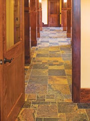 Natural tile in the hallway.