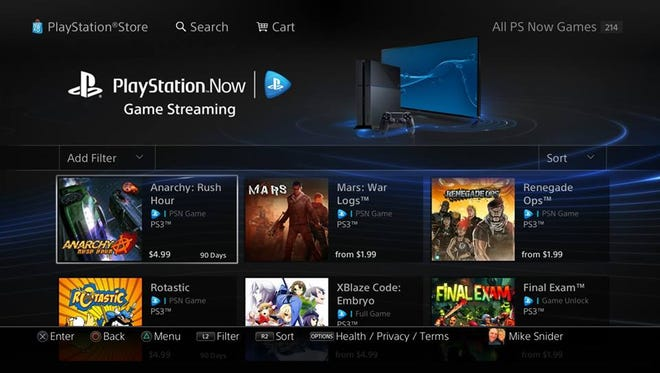 An image of the PlayStation Now game streaming service on the PlayStation 4.