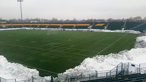The snow has been removed from Sahlen's Stadium and