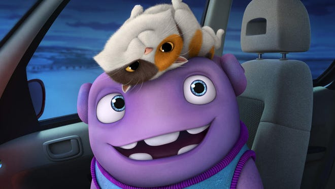 """In """"HOME,"""" Oh (voiced by Jim Parsons) and a cat named Pig enjoy their global road trip."""
