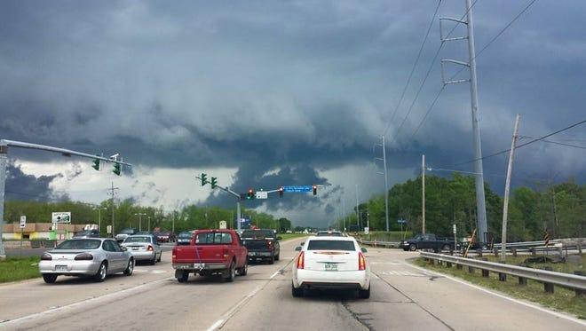 A scud cloud passes over U.S. 165 near Sterlington.