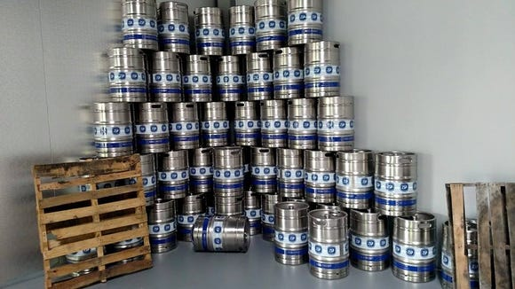 Kegs stacked at the new 2SP Brewing Company in Aston, Pa.