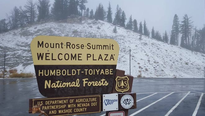 Snow covers Mount Rose Summit Wednesday. Reno forecasters expect the first cold snap to freeze the Reno-Tahoe area by early next week.
