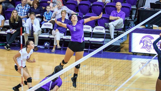 Trevecca freshman Clare Taylor, a TCA graduate, has 216 kills this year for the Trojans.