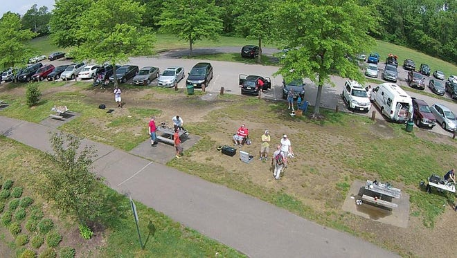 An aerial photograph taken from a drone at a Rotor-E Club outing.