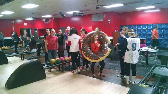 Roberson swimmers went to a nearby bowling alley after Thursday's NCHSAA 4-A swim meet in Cary.