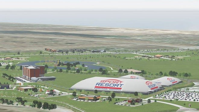 A rendering showing the view from afar of a proposed $75 million sports complex in Portage,  Ind.